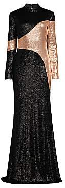Rachel Zoe Women's Genevieve Two-Tone Sequin Column Gown - Size 0