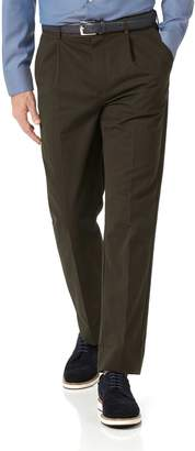 Charles Tyrwhitt Brown Classic Fit Single Pleat Non-Iron Cotton Chino Pants Size W42 L38
