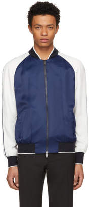 Versace Blue and White Embroidered Varsity Jacket