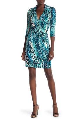 Amelia Surplice Wrap Print Dress