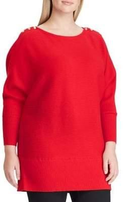 Lauren Ralph Lauren Plus Button-Shoulder Cotton Sweater