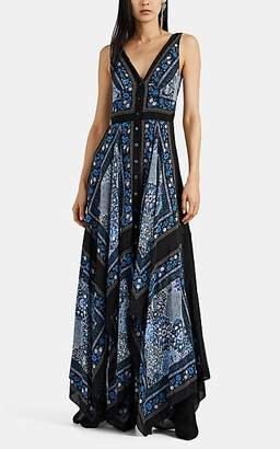 Altuzarra Women's Duel Floral-Tapestry Georgette Maxi Dress - Blue