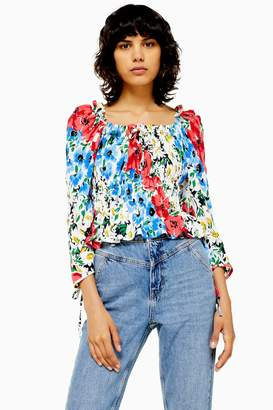 Topshop Womens Vancouver Floral Ruched Prairie Blouse - Multi