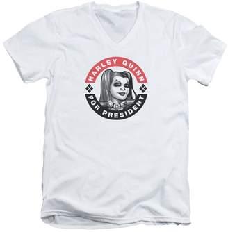 Batman Franchise Harley Quinn For President Adult V-Neck T-Shirt Tee