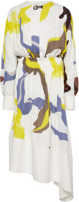 Tibi Ant Farm Printed Panel Crepe Dress