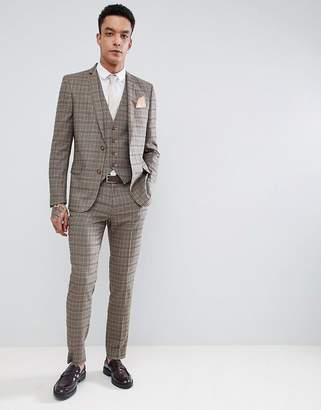 Asos Design DESIGN Skinny Suit Pants In Wool Blend Camel Check