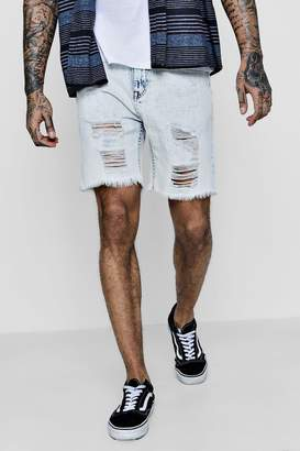 boohoo Bermuda Denim Shorts with Distressing and Raw Hem
