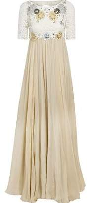 Dolce & Gabbana Embellished Corded Lace-Paneled Silk-Blend Chiffon Gown