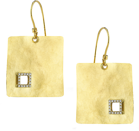 Reiss I.Reiss Flat Hammered Square Diamond Cut Out Earrings
