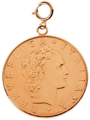 50 Lire Coin Charm, 14K Rose Gold