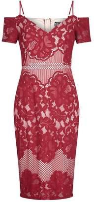 Quiz Berry Lace Cold Shoulder Midi Dress