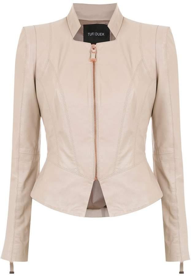 panelled leather jacket