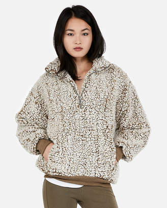 Express One Eleven Oversized Sherpa Fleece Sweatshirt