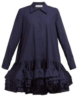 Molly Goddard Annie Ruffled Hem Cotton Mini Shirtdress - Womens - Navy