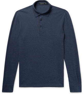Ermenegildo Zegna Slim-Fit Melange Cotton-Pique Polo Shirt - Storm blue
