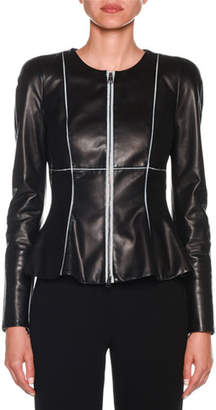 Giorgio Armani Zip-Front Piped Fit & Flare Leather Jacket