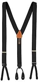 Trafalgar Men's Formal Kington Silk Satin Suspenders - Black