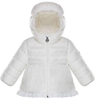 Moncler Semi-Quilted Ruffle Hem Puffer Jacket, Size 12M-3