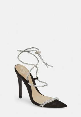 4714bef1fee Missguided White Rope Pointed Toe Heeled Sandals