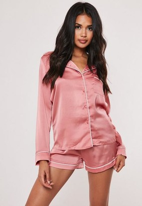 Missguided Pink Piping Detail Short Pajama Set
