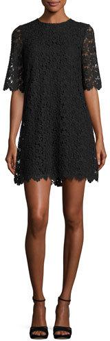 Kate Spade New York Short-Sleeve Daisy Lace Shift Dress, Black