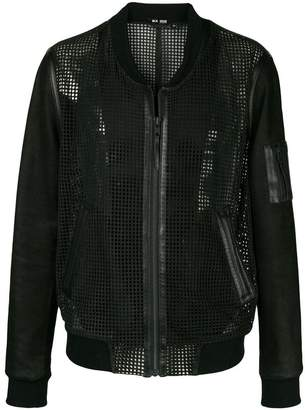 BLK DNM collarless leather mesh-like jacket