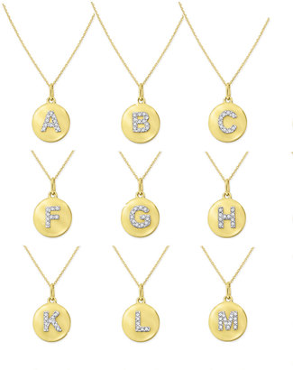 KC Designs 14k Yellow Gold Diamond Disc Initial Necklace $475 thestylecure.com