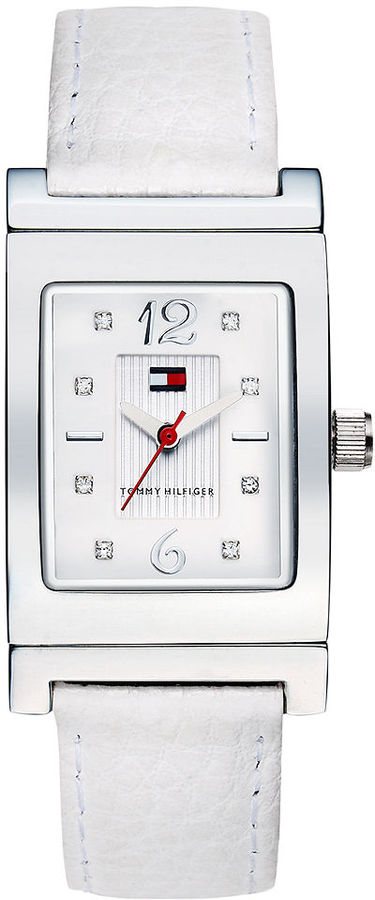 Tommy Hilfiger Watch, Women's Black and White Reversible Leather Strap 25mm 1780566