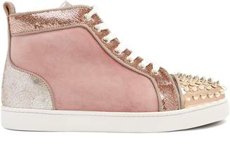Christian Louboutin Lou 25 stud-embellished suede high-top trainers