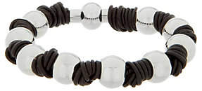 Steel by Design Stainless Steel Polished Bead Leather KnotBracelet