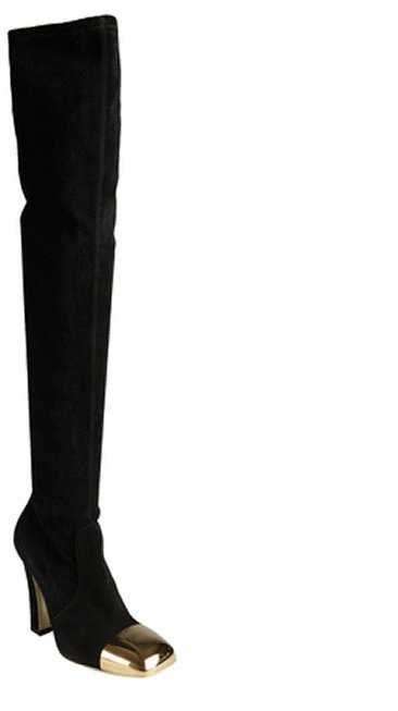 Saint Laurent black suede gold cap square toe tall boots