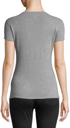 Majestic Short-Sleeve Crewneck Cashmere Top