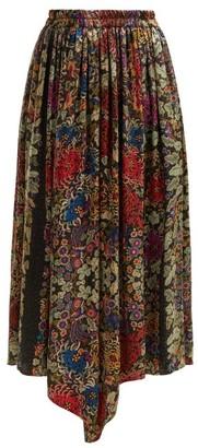 By Walid - Margot Floral Print Silk Midi Skirt - Womens - Black Print