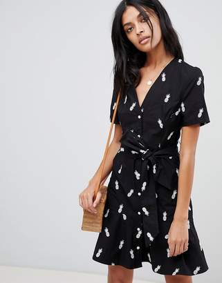 Warehouse tea dress with tie front with pineapple embroidery