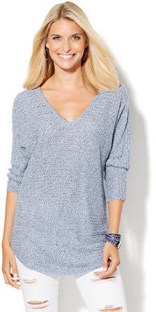 V-Neck Shirttail Dolman Sweater