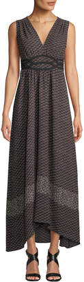 Max Studio V-Neck Sleeveless Geometric-Print Maxi Dress