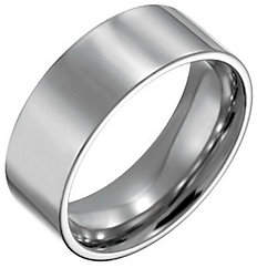 Forza Men's 8mm Steel Flat Polished Ring