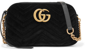 Gucci Gg Marmont Small Leather-trimmed Quilted Velvet Shoulder Bag - Black