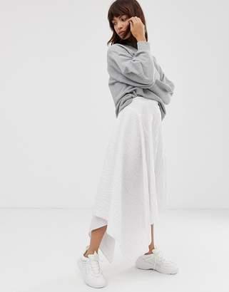 Asos cotton stripe asymmetric midi skirt