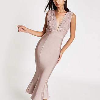 River Island Womens Forever Unique pink peplum bodycon midi dress