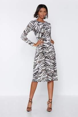 Nasty Gal Front Runner Zebra Dress