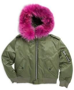 SAM. Girl's Jenny Coyote Fur-Trim Down Bomber Jacket