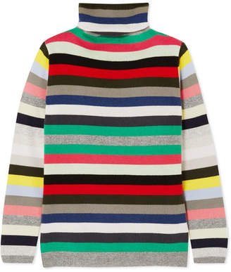 Allude Striped Cashmere Turtleneck Sweater - Green