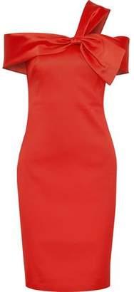 Badgley Mischka Knotted Satin-Twill Dress