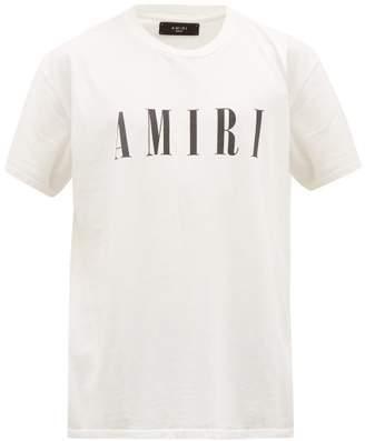 Amiri Logo Print Cotton T Shirt - Mens - White Black