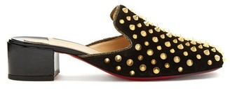 Christian Louboutin Mulaconka 35 Gold Spike Suede Mules - Womens - Black Gold