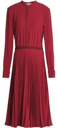 Vanessa Bruno Grosgrain-Trimmed Pleated Crepe Shirt Dress