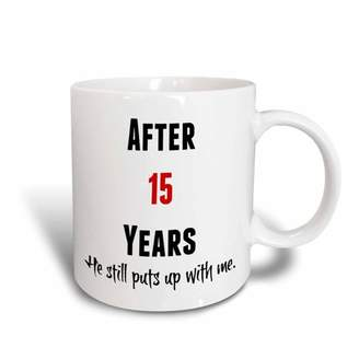 with me. 3dRose After 15 Years He Still Puts Up With Me, Black And Red Letters - Ceramic Mug, 15-ounce