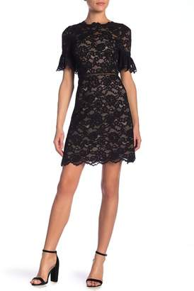 Rebecca Taylor Short Sleeve Open Back Lace Dress