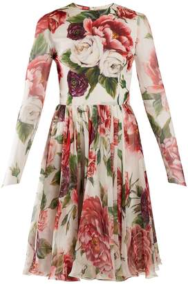 Dolce & Gabbana Peony and rose-print chiffon mini dress